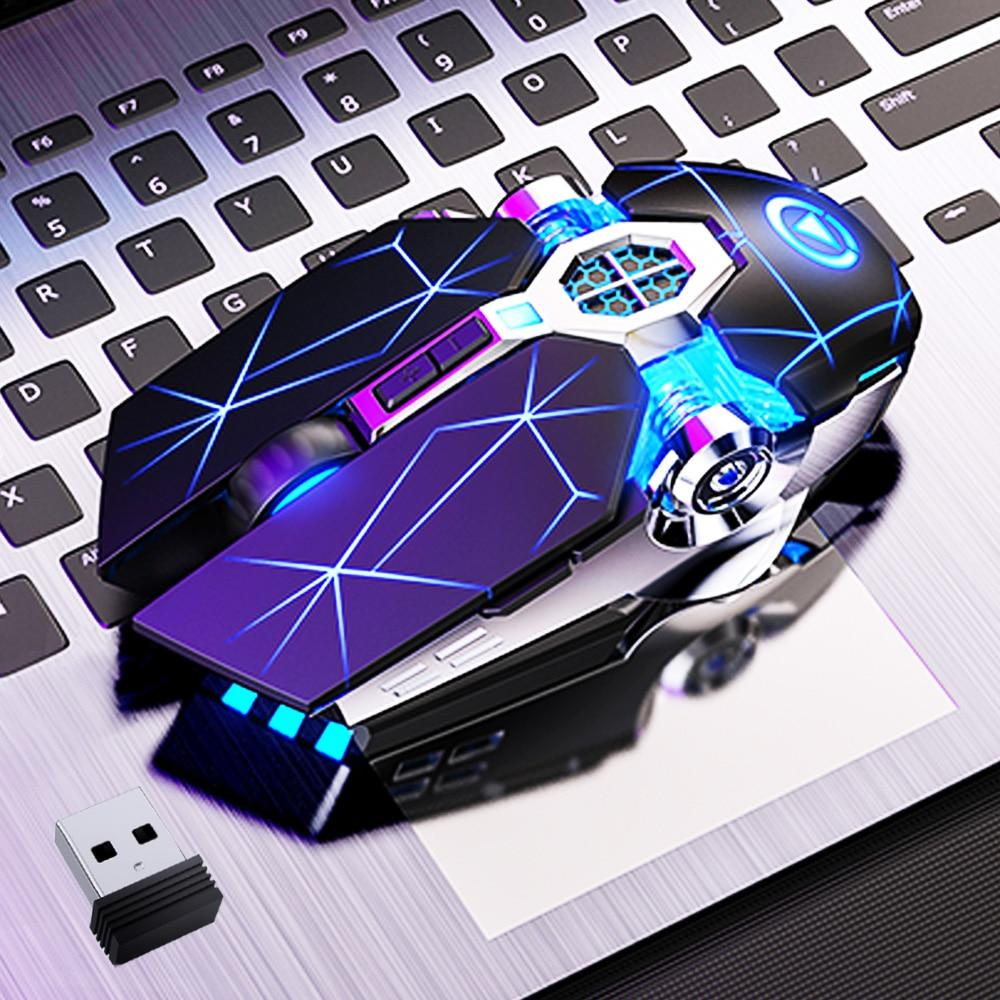 Gaming Mouse Rechargeable Wireless Silent Mouse LED Backlit 2 4G USB 1600DPI Optical Ergonomic Mouse Gamer