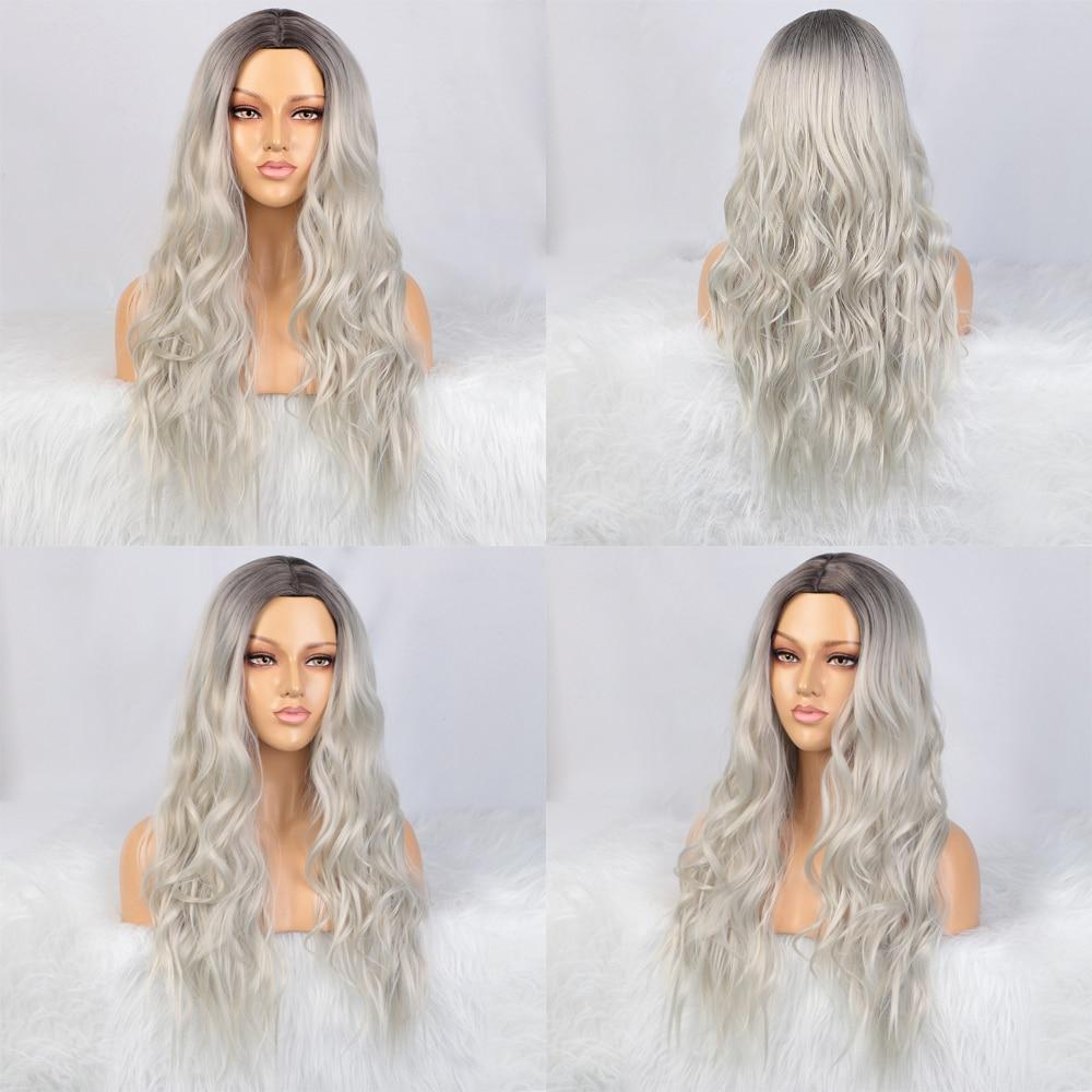 Stamped Glorious Ombre Black Platinum Grey Blonde Wig Heat Resistant Fiber Hair Synthetic Long Wigs for dd25537b 0d54 4877 b6d6 45894082c502